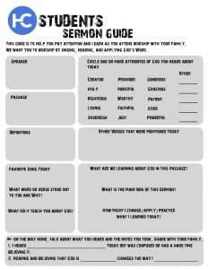 Harvest Students Sermon Guide